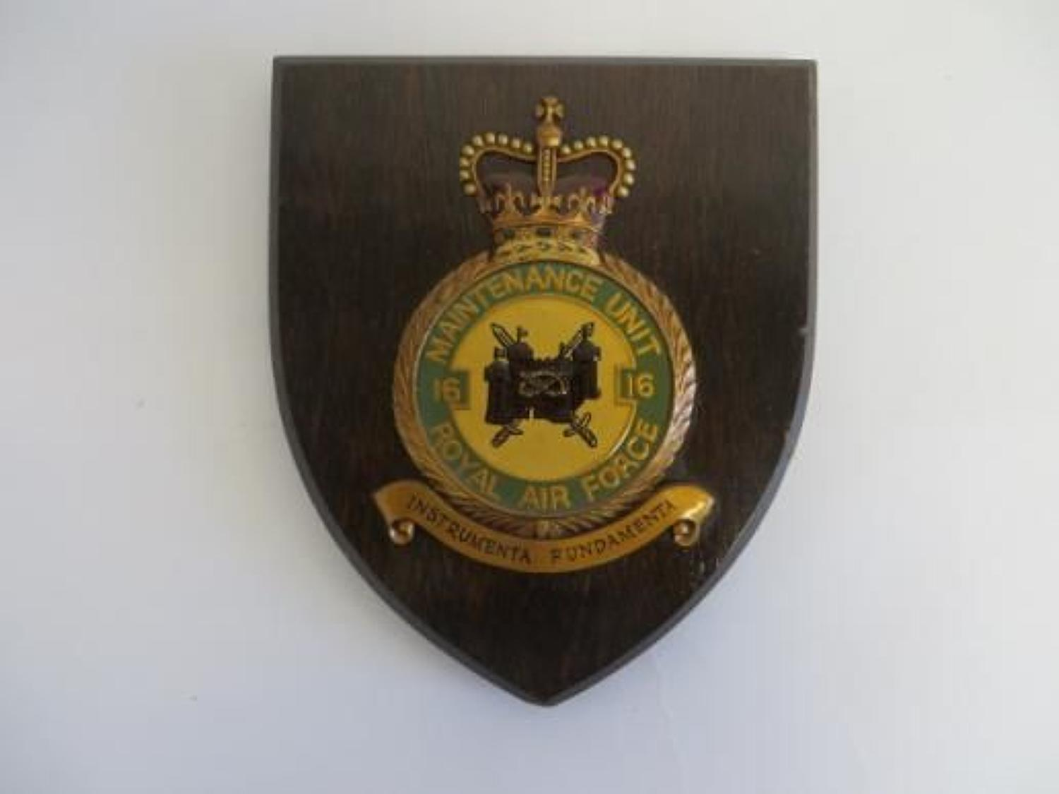 Post 1953 16 Maintenance Unit Stafford R.A.F Wall Plaque
