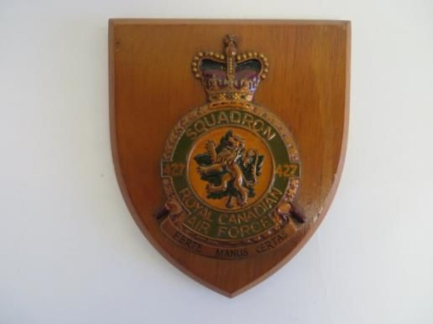 Post 1953 427 Squadron R.C.A.F Wall Plaque