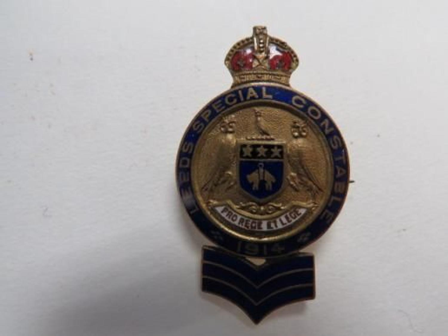 Leeds Special Constable 1914 Sergeant Lapel Badge
