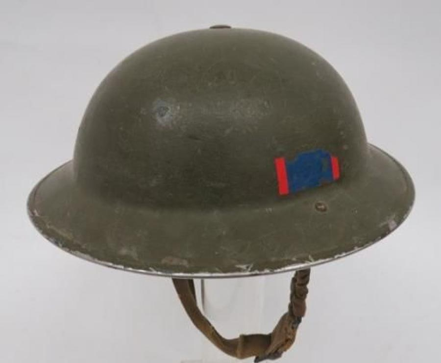 1940 Dated Regimentally Flashed Steel Helmet
