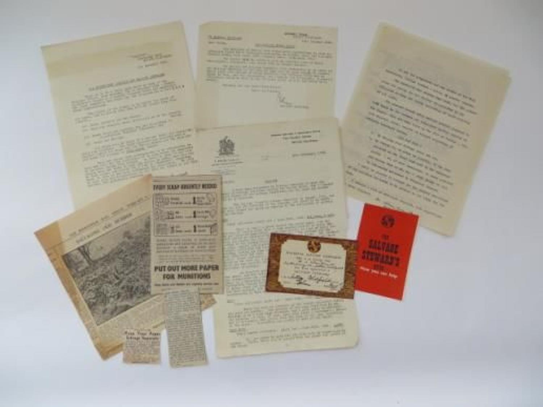 Civil Defence Salvage Paperwork
