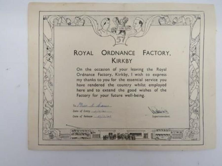 WW 2 Royal Ordnance Factory Kirkby Paperwork and Photographs
