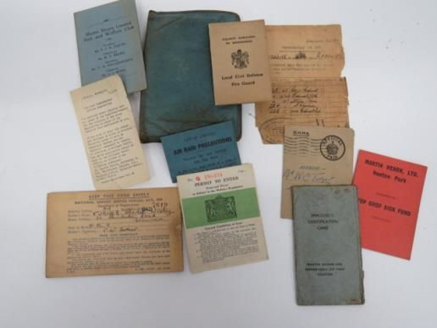 WW 2 Factory Workers Wallet and Paperwork