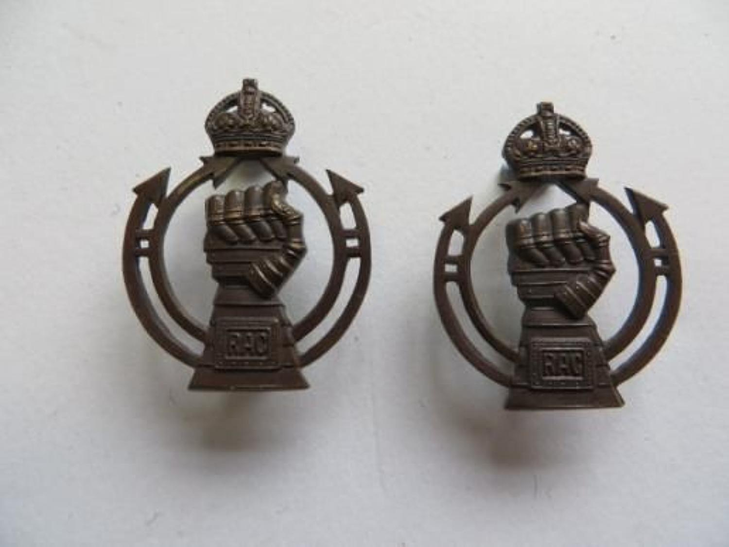 WW2 Pair of Royal Armoured Corps Officer Collar Badges