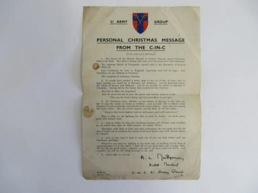 21st Army Group Montgomery Xmas 1944 Letter