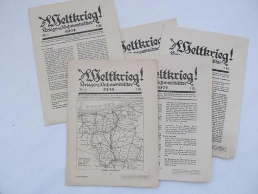 40 Original WW 1 German Newspapers