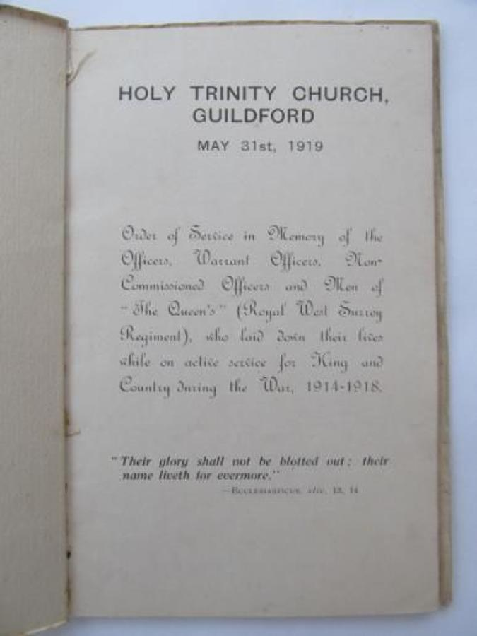 Holy Trinity Church Guildford WW 1 Roll of Honour