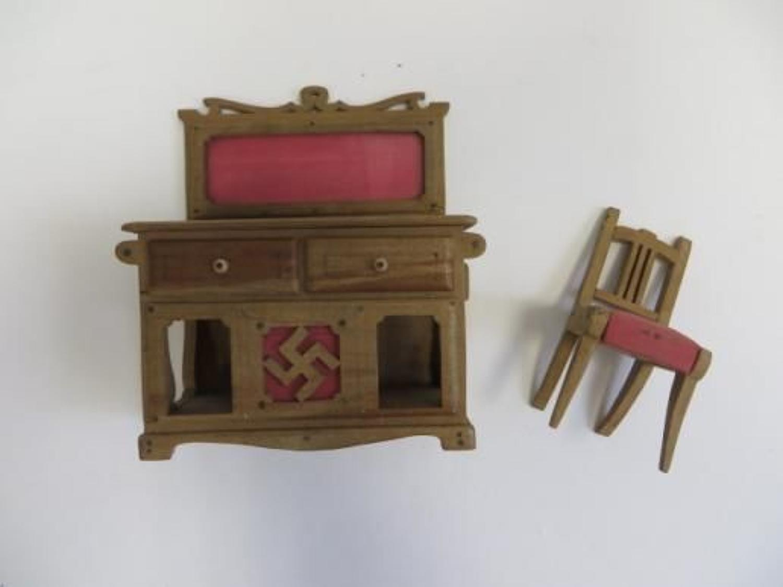 WW 2 German P.O.W Dolls' House Dresser and Chair
