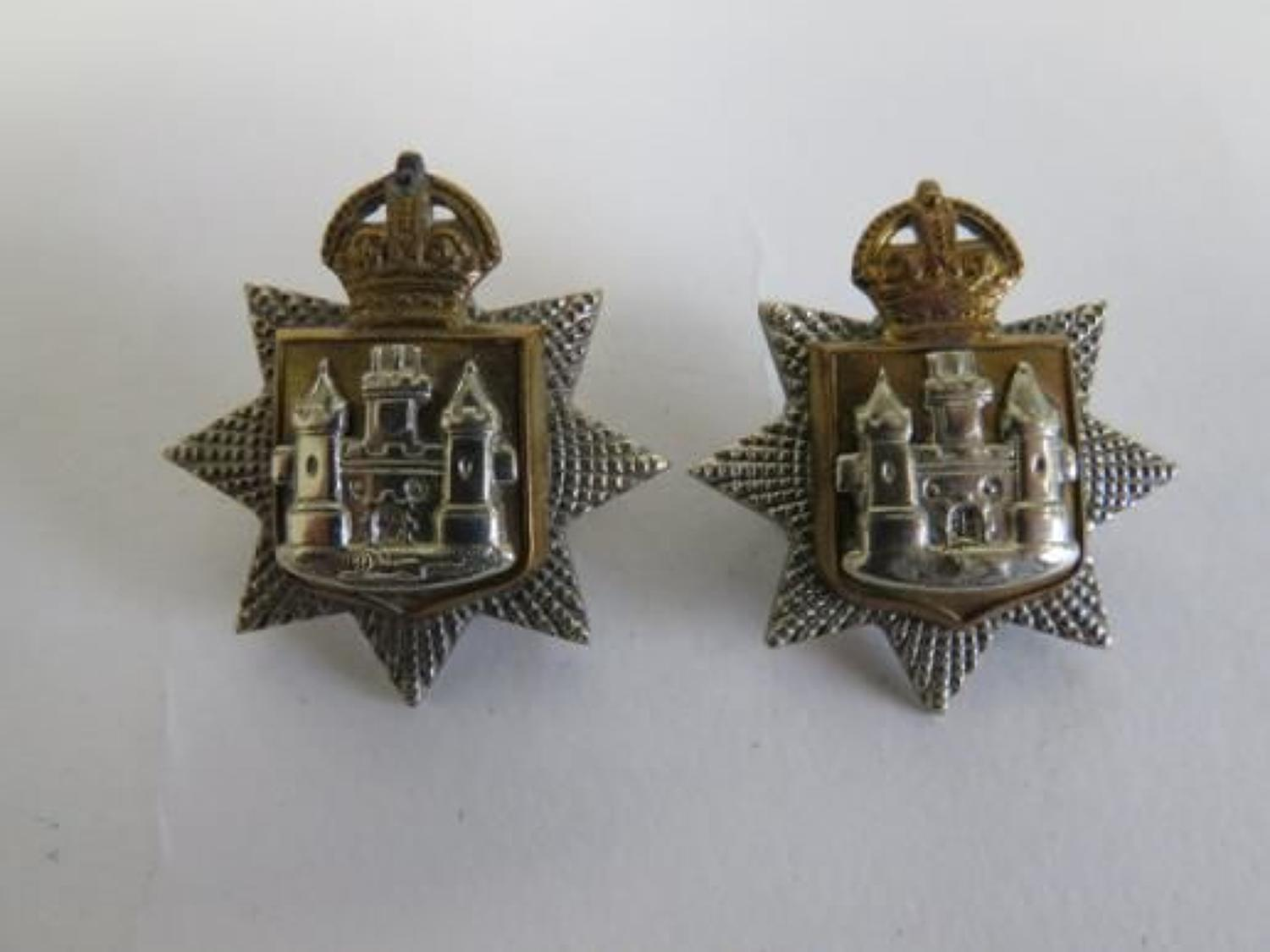Pair of Post 1901 East Surrey Officer Collar Badges