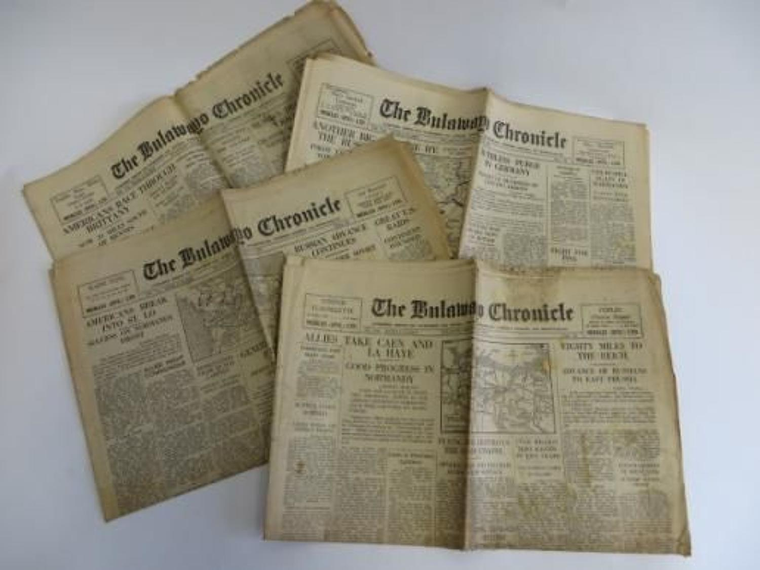 Four July 1944 Newspapers covering the D-Day Breakout