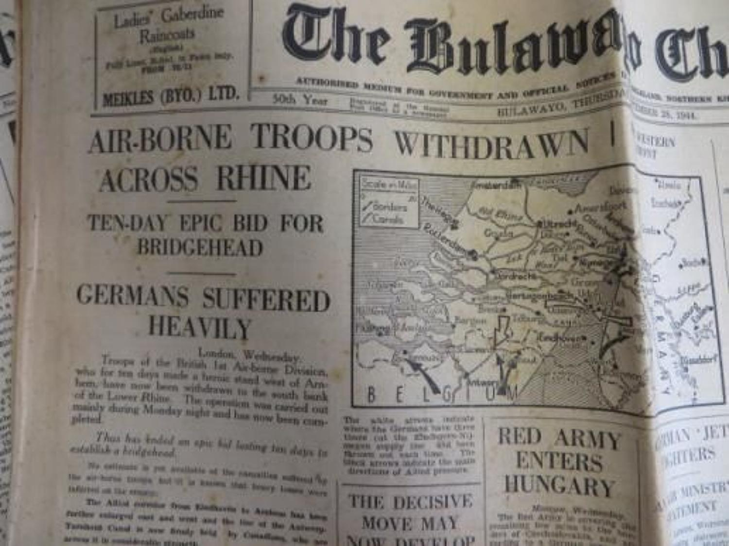 Five September 1944 Newspapers covering the Arnhem Breakout