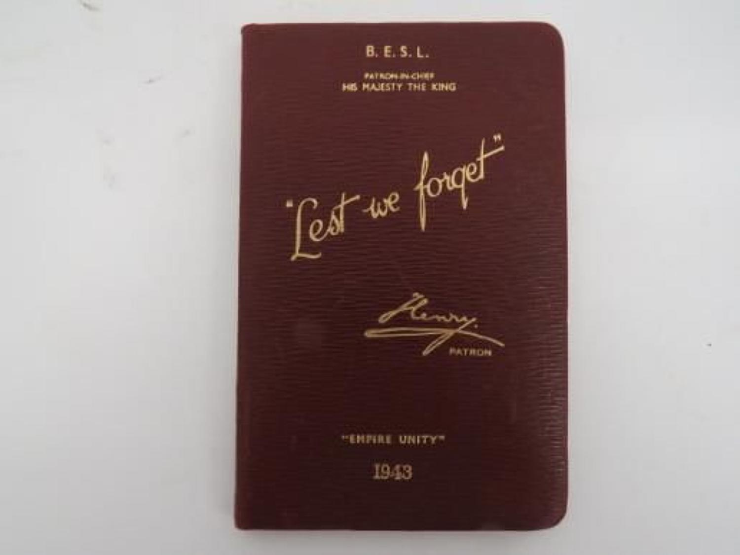 1943 Lest We Forget Diary