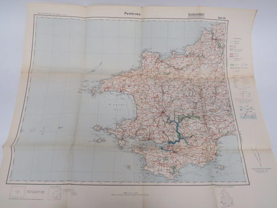 WW 2 German Invasion Map of Pembroke /Wales
