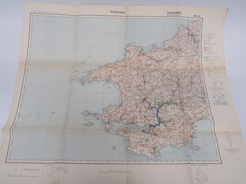 WW 2 German Invasion Map of Pembroke /Wales