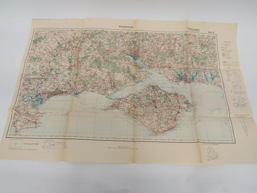 WW 2 German Invasion Map of Portsmouth