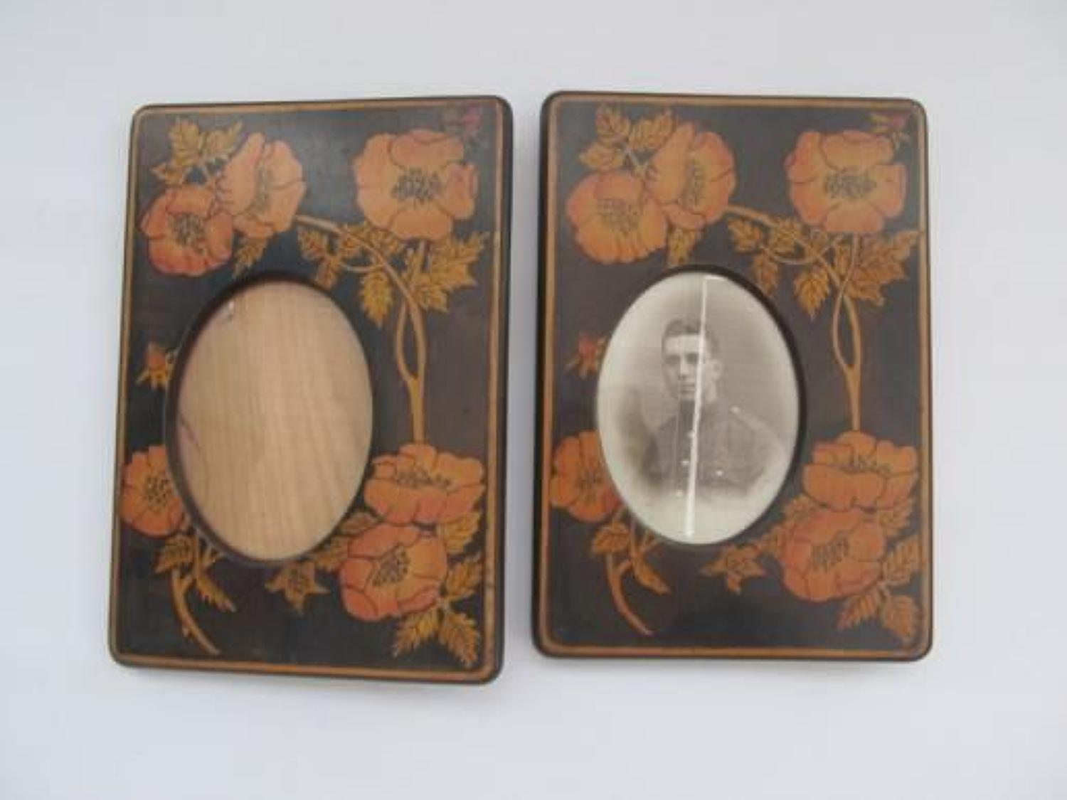 Pair of 1920's Poker Work Memorial Frames