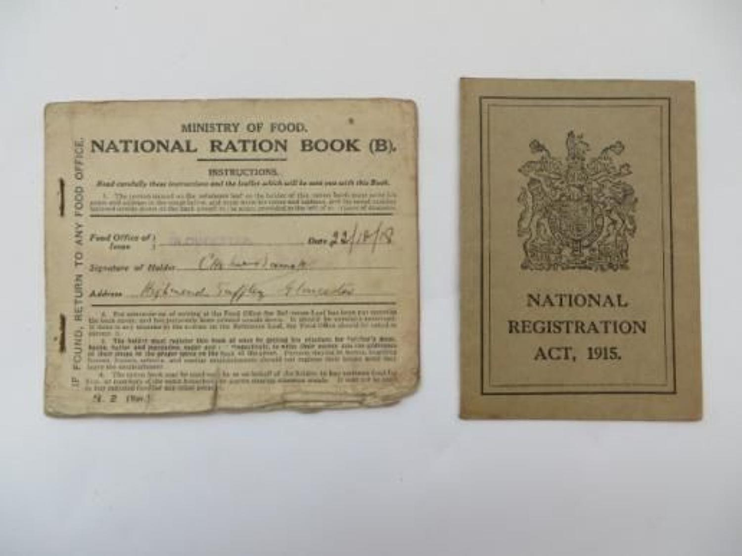 WW 1 National Registration Card and Ration Book