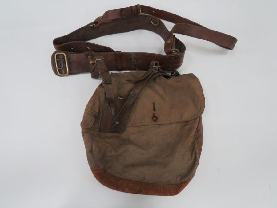 WW 1 Officer Haversack and Sam Browne Belt Set