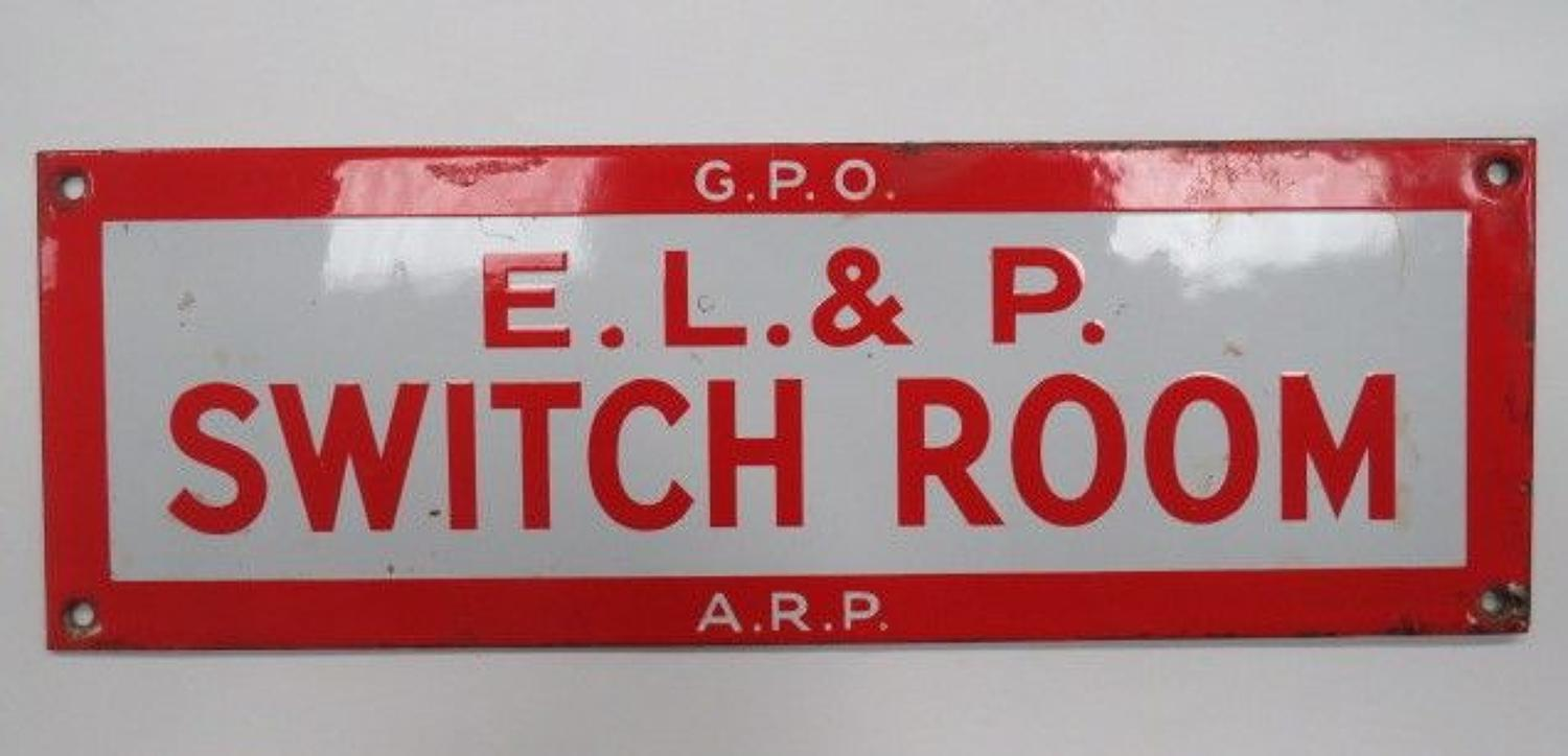 WW 2 Enamelled A.R.P./G.P.O Switch Room Door Sign