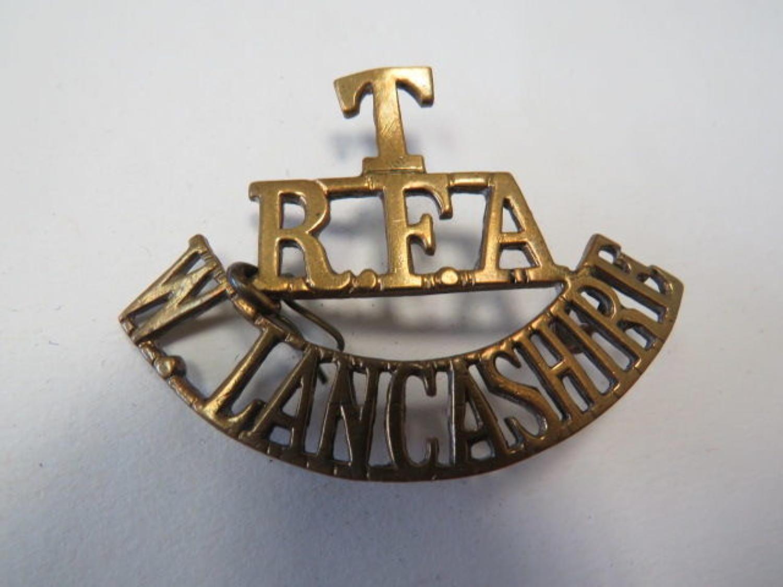 T. RFA. W. LANCASHIRE Shoulder Title