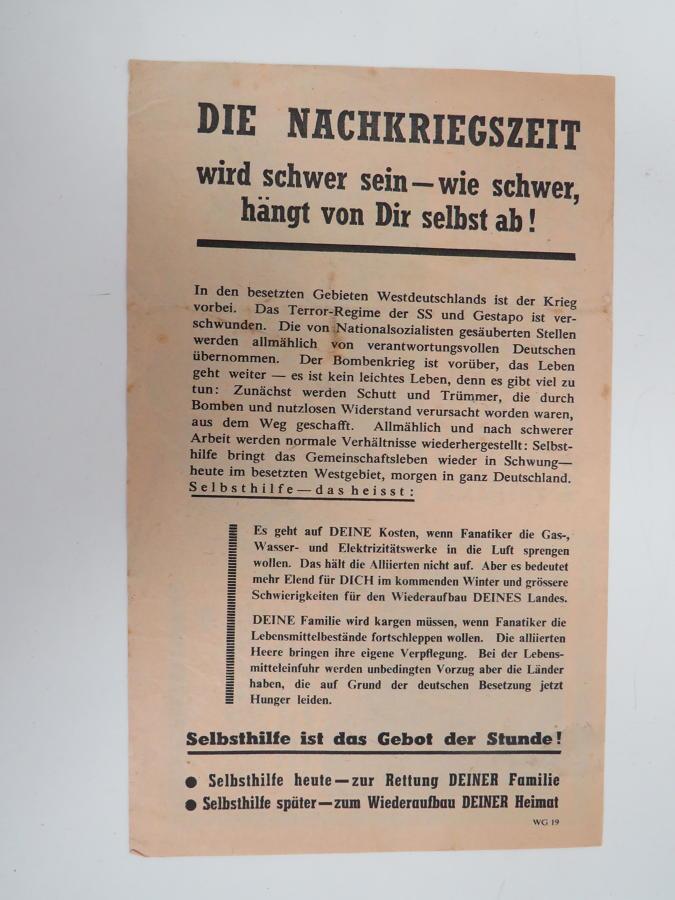 WW 2 German Propaganda Leaflet WG 19
