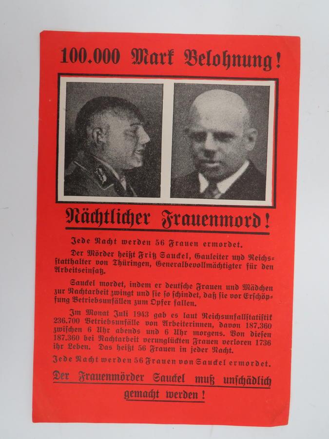 WW 2 Wanted Propaganda Drop Leaflet