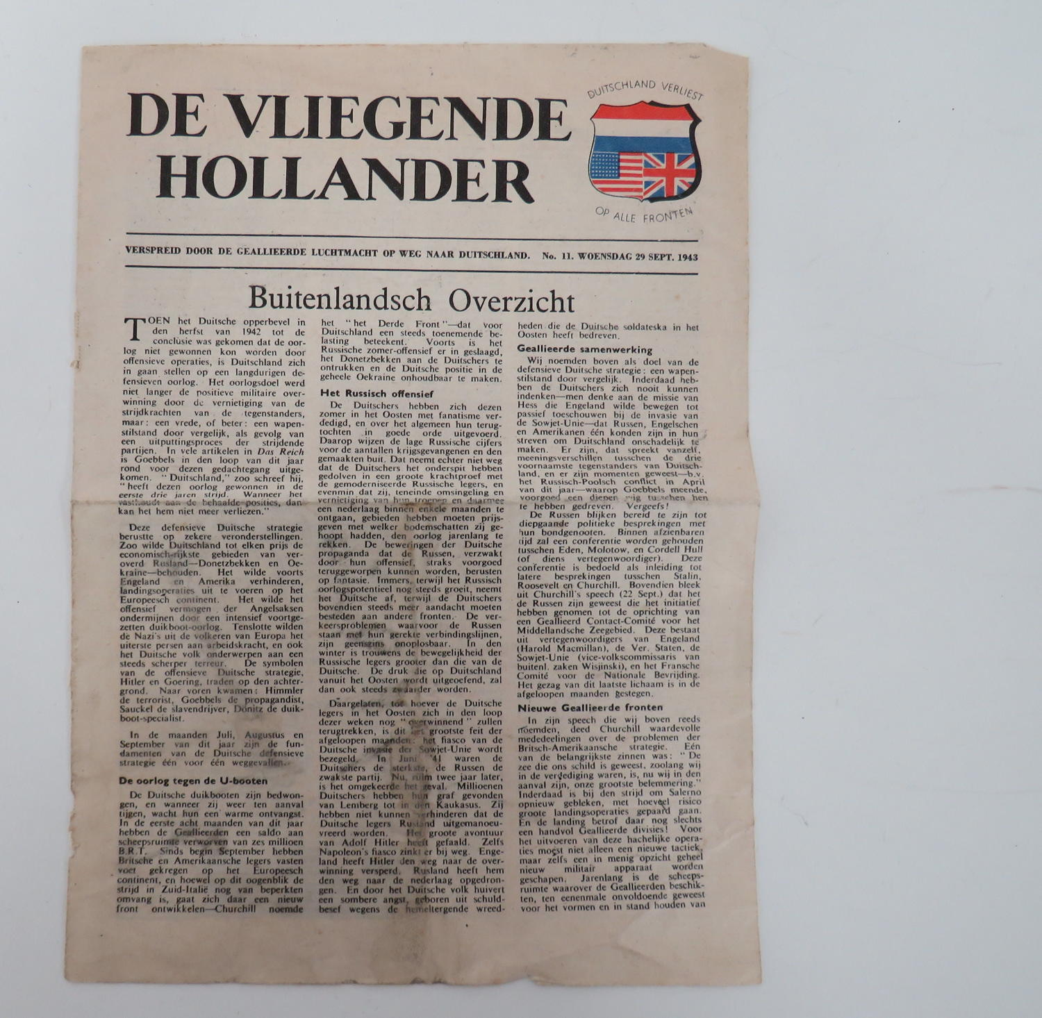 WW 2 R.A.F Air Dropped Propaganda Dutch Newsletter