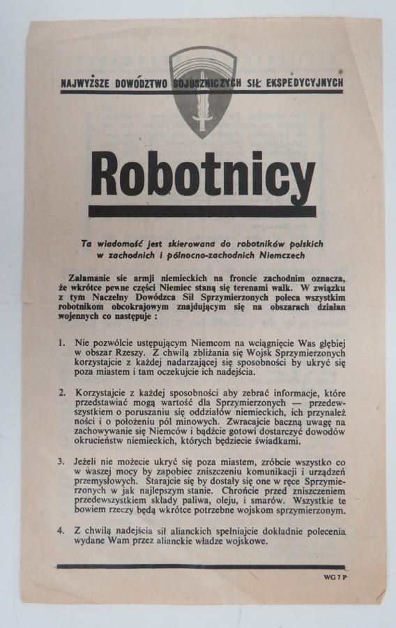 WW 2 German Propaganda Leaflet WG7P