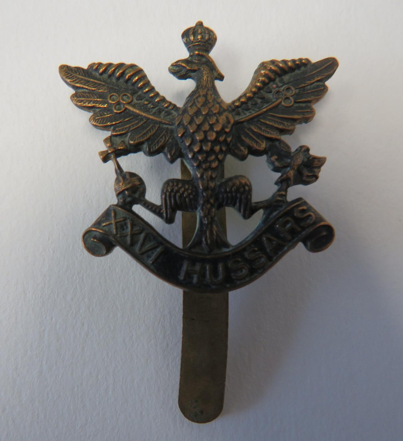 War Raised 26th Hussars Cap Badge