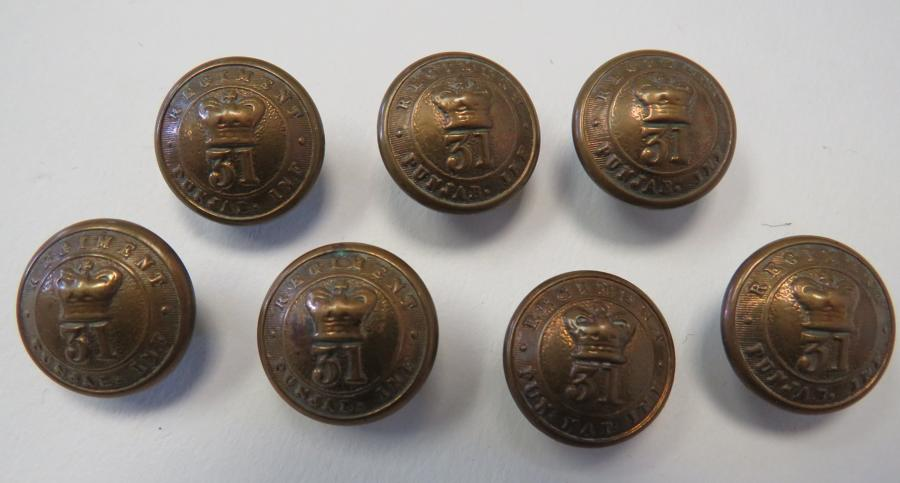 Set of Seven 31st Punjab Infantry Victorian Buttons
