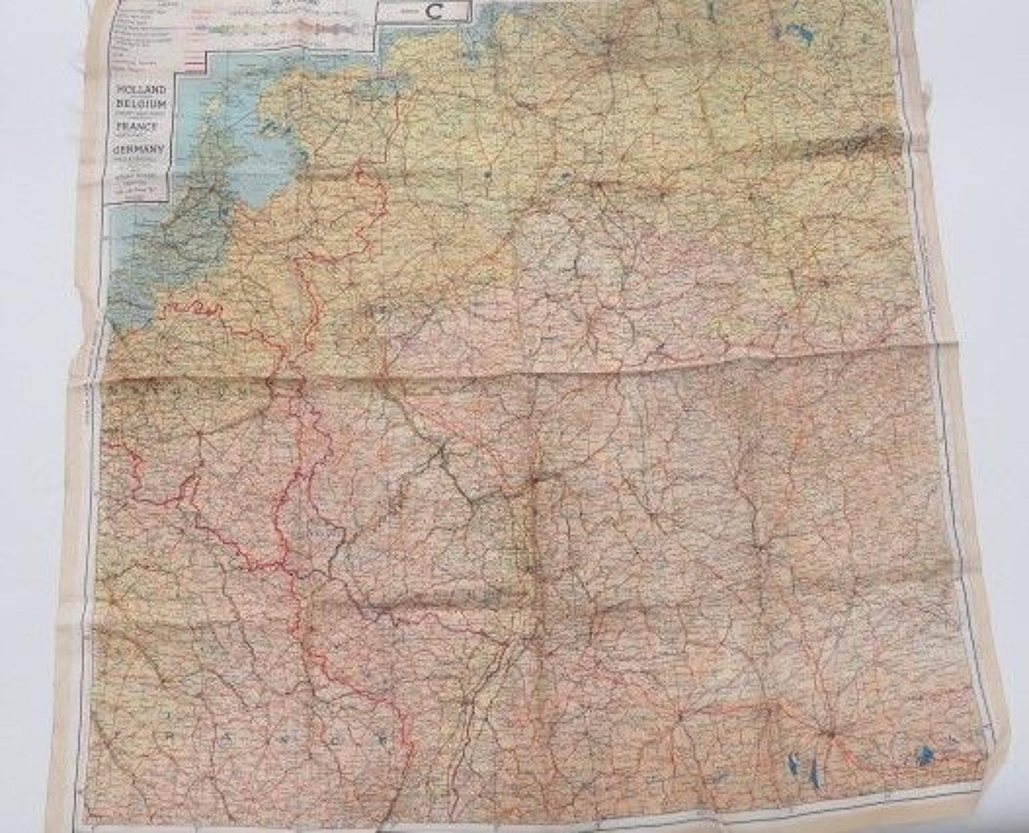 WW 2 France , Holland and Germany Silk Escape Map