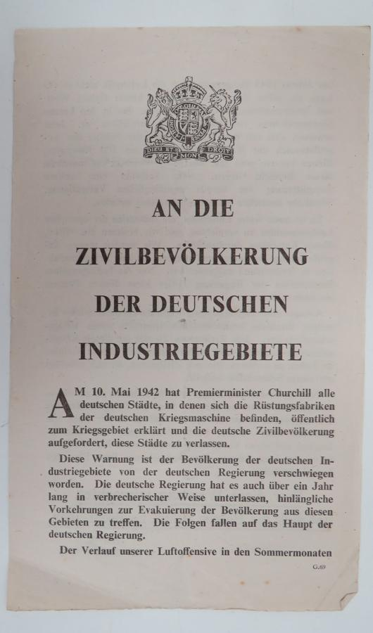 WW 2 German Propaganda Leaflet G69