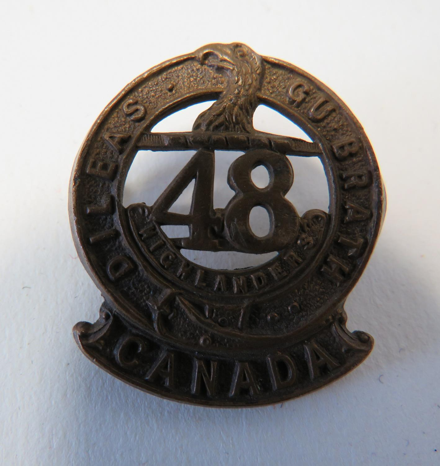 Canada 48th Highlanders Cap /Large Collar Badge