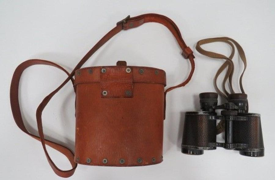 Rare 1939 Pattern Leather Binocular Pouch and Binoculars