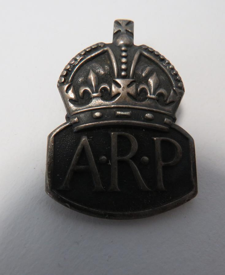 WW 2 Silver A.R.P Lapel Badge