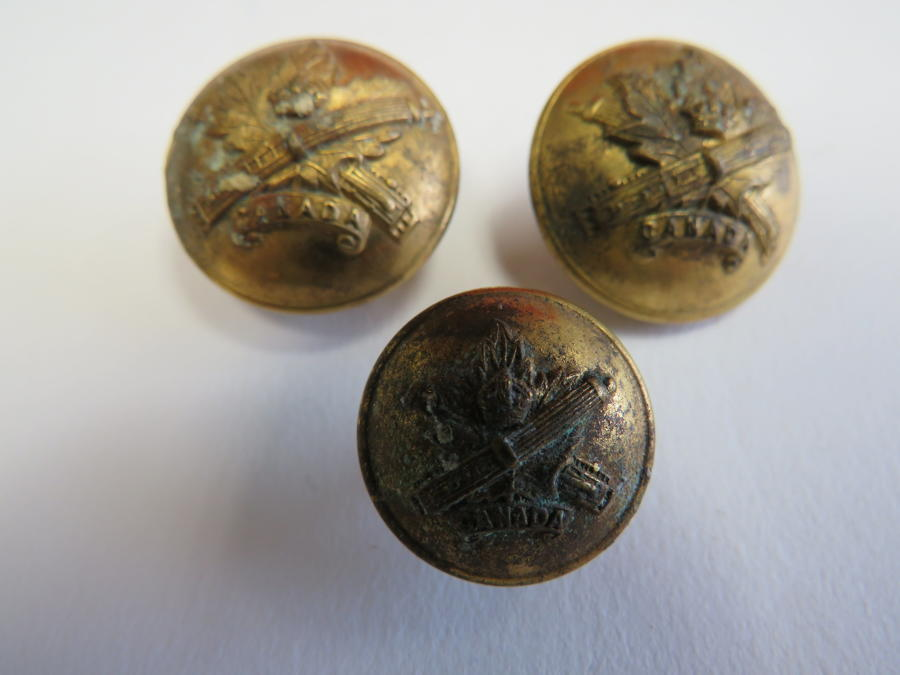 Three WW 1 Canadian M.G.C Buttons