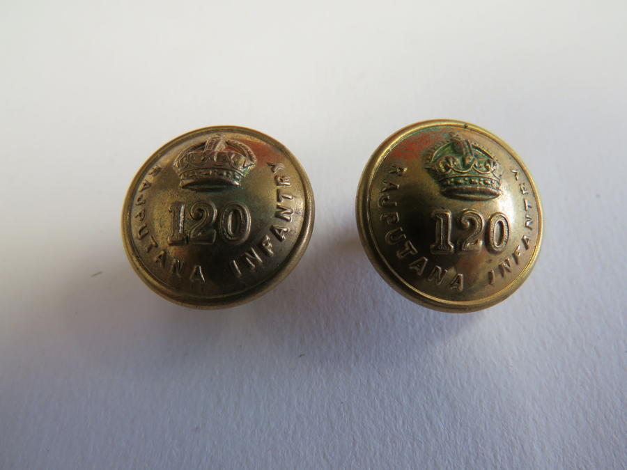 Two 120th Rajputana Infantry Small Pocket Buttons