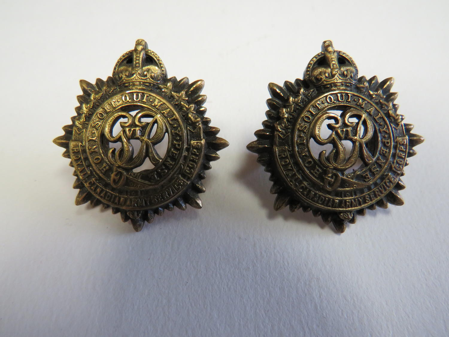 Pair of Royal Canadian Army Service Corps Collar Badges