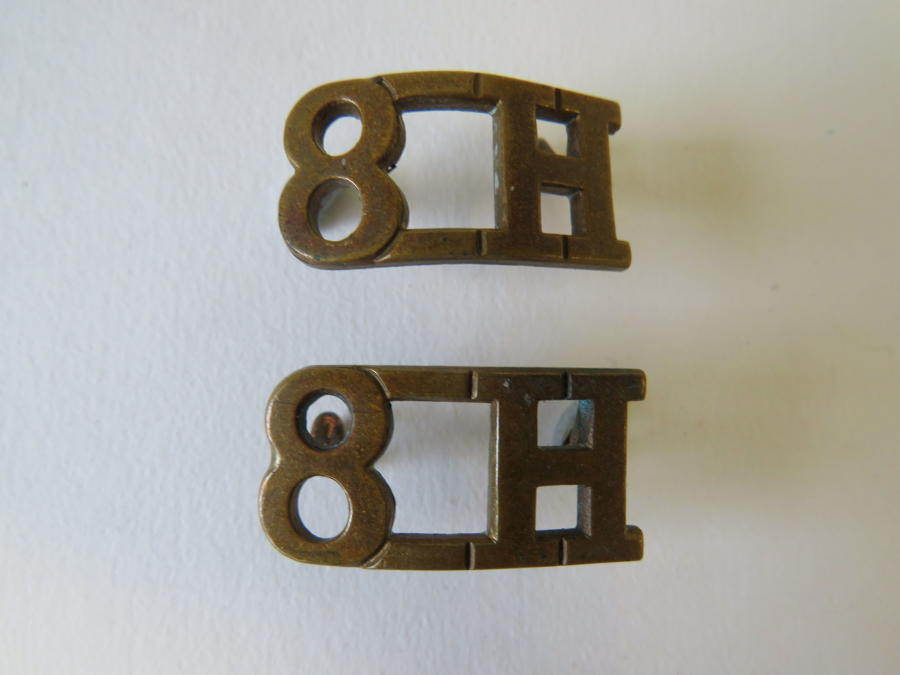 Pair of 8th Hussars Shoulder Titles