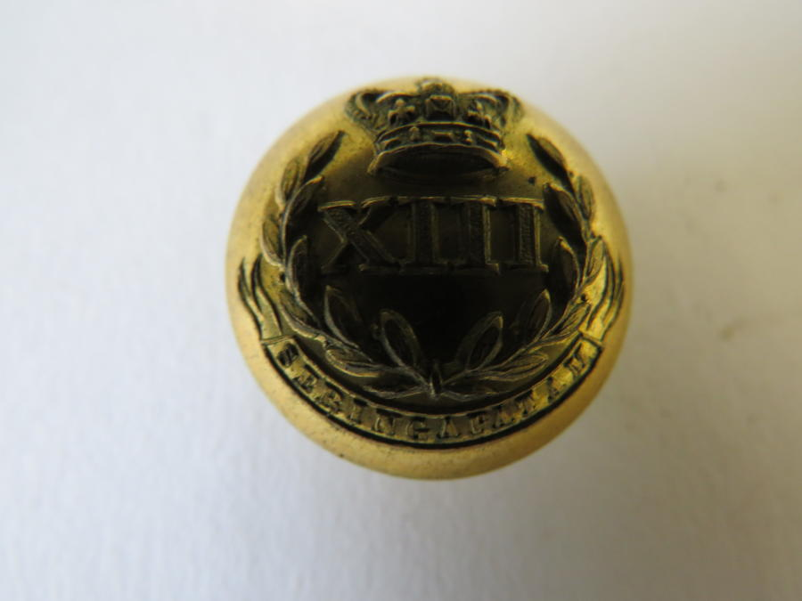 Victorian 13th Foot Leicestershire Officers Button