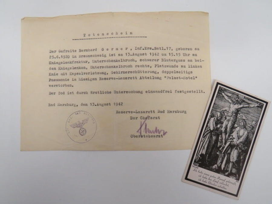 German WW 2 Casualty Death Certificate and Card