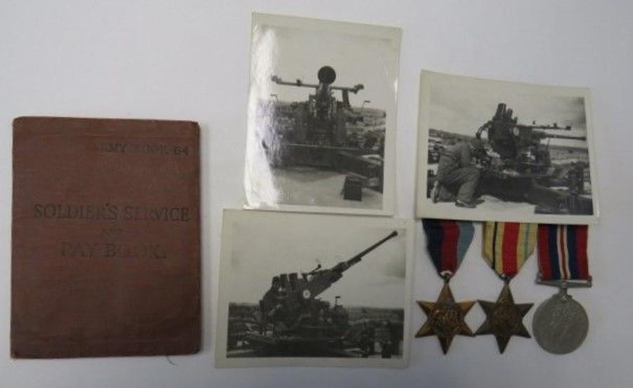 Royal Artillery P.O.W Service book,Medals and Photos