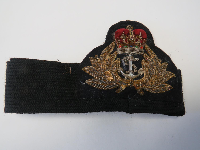 Post 1953 Royal Navy Officers Cap Badge and Band