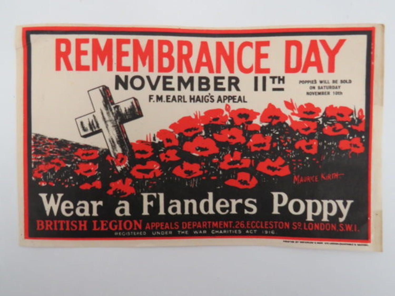 Rare 1923 Original Remembrance Day Collecting Tin Label