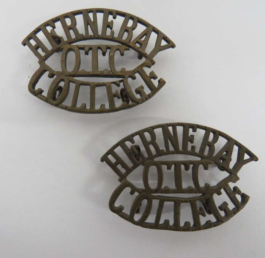 Pair of Hernebay College O.T.C Shoulder Titles