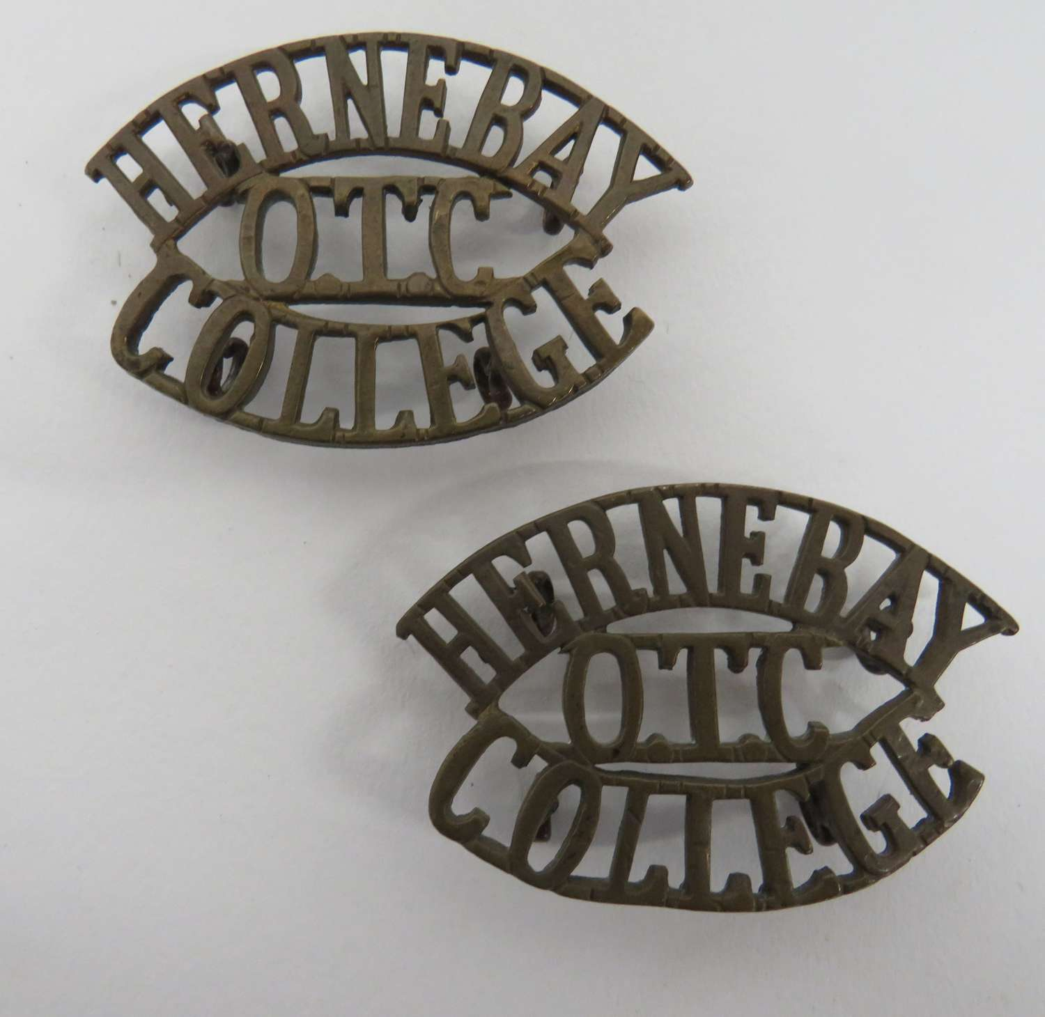Pair of Hernebay College O.T.C Shoulder Titles