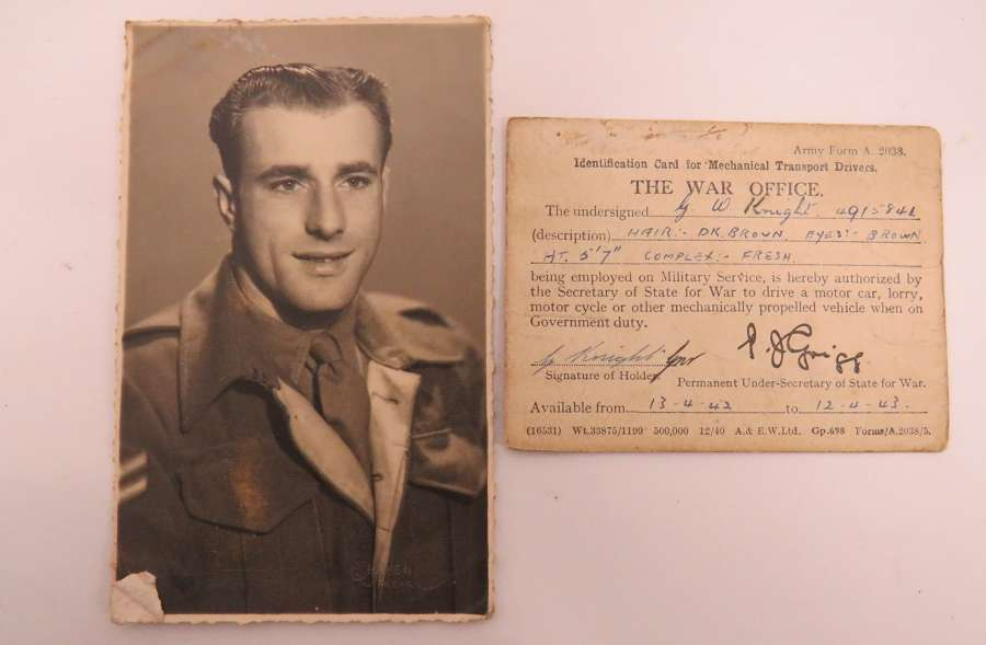 WW 2 Army Drivers Card and Photo