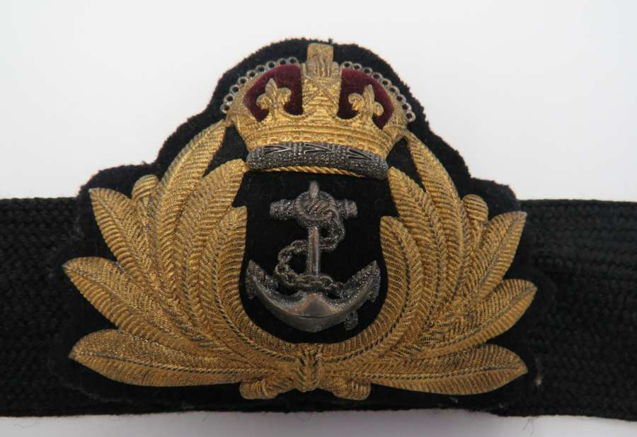 WW 2 Royal Navy Officer Utility Cap Badge and Band