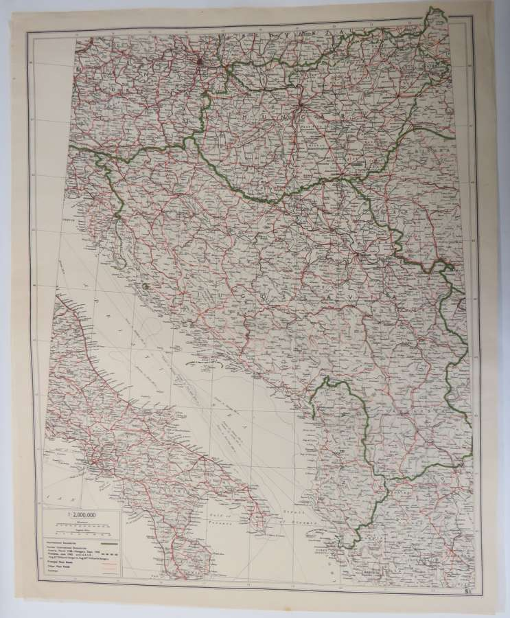 WW 2 Escape & Evasion Tissue Map of Italy & Yugoslavia