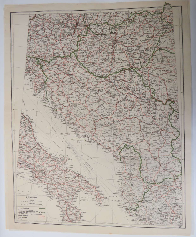 WW 2 Escape & Evasion Tissue Map of Italy & Yugoslavia